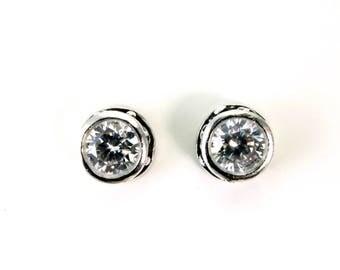 Sterling, Post Earrings, White CZ, CZ Earrings, CZ Studs, Cz Posts, Stud Earrings, White Studs, Round Studs, Round Earrings, Posts, 1196c