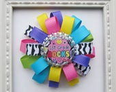 1st Grade Rocks School Theme Loopy Bottle Cap Hair Bow - Bright Colors Zebra Print - Back To School - I Love 1st Grade