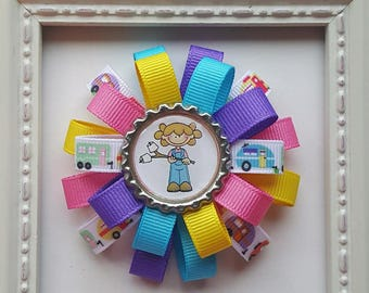 Happy Camper Girl Theme Loopy Bottle Cap Hair Bow - Bright Colors - Let's Go Camping - Happy Camper - Summer Vacation