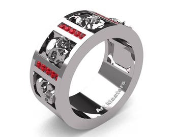 Mens Modern 14K White Gold Channel Ruby Skull Wedding Ring R413-14KWGR