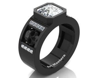 Mens Modern 14K Black Gold 3.0 Ct Royal Emerald Cut White Sapphire Princess Diamond Skull Wedding Ring R41N-14KBGDWS