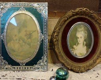 Vintage Framed Art - Italian Florentine Art Work, Foul Framed Dome Print, Two Antique Picture Set, Small Vintage Baroque Art, Venetian Art