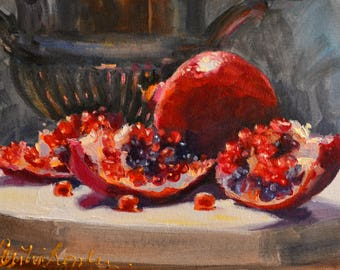 Original Oil Painting still life of POMEGRANATES with SILVER URN,  perfect gift for mom,