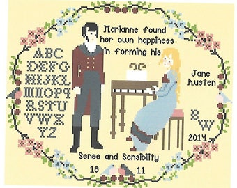 Sense and Sensibility/ Marianne Dashwood and Colonel Brandon/A Cross Stitcher Sampler Chart