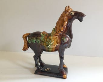Vintage Chinoiserie Horse Statue, Figurine, Ming Tang Style, Hollywood Regency, Chinese Porcelain Decor