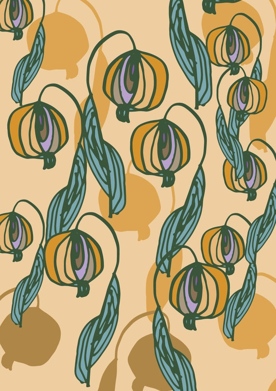 Retro florals A3 wall art Print.Botanical  Poster Illustration. wall decor.gift