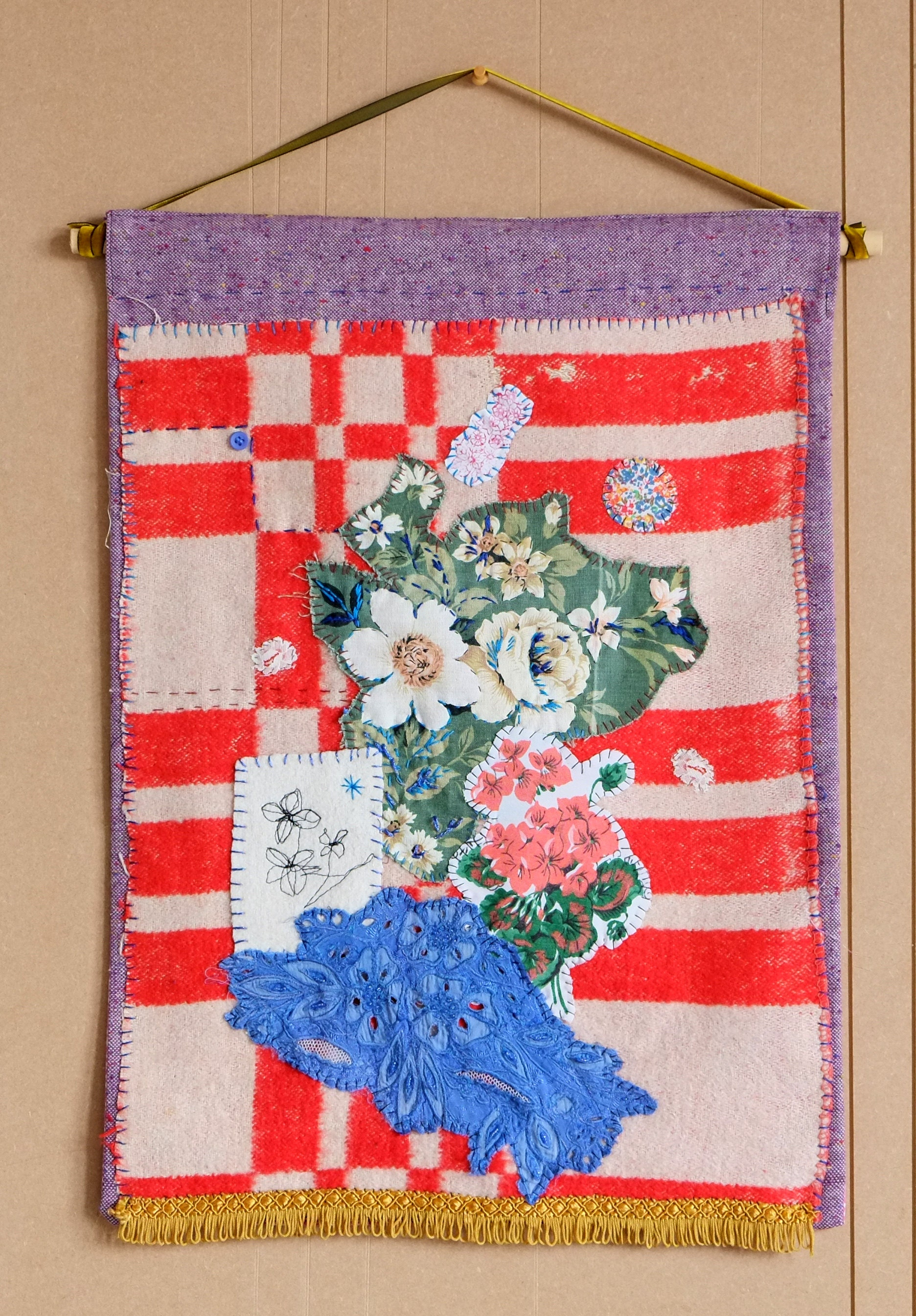 checks and roses - textile collage wall hanging