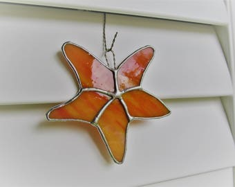 Starfish in Yellow Orange and White Swirled Opalescent Glass -  Authentic Stained Glass