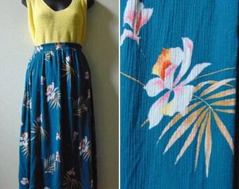 Hawaiian skirt, medium large skirt, teal floral skirt, 1980s high waist skirt, gauzy skirt, tropical print skirt, California Krush, pin up