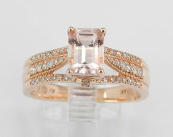 Emerald Cut Morganite and Diamond Halo Engagement Ring 14K Rose Gold Size 7