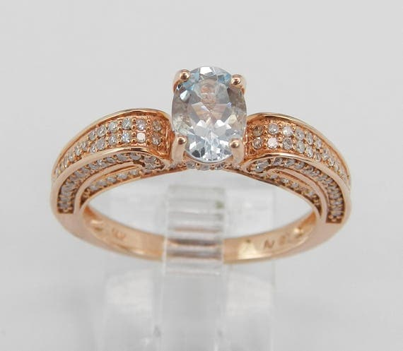 14K Rose Gold Diamond and Aquamarine Engagement Aqua Promise Ring Size 7 March