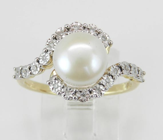 14K Yellow Gold Diamond and Pearl Bypass Engagement Ring Size 7 June Birthday