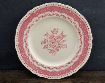 Pink Transferware Dinner Plates, Grindley English Transferware Plates, Set of 4, Avon Pink, Cottage Decor