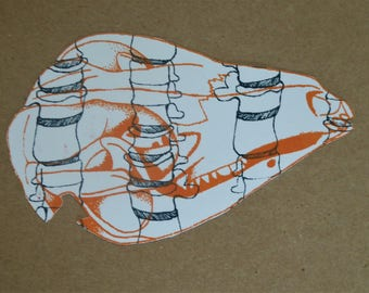 Orange and blue skulls and spines hand printed greeting cards