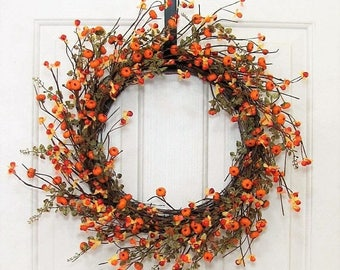 FALL WREATH SALE Storm Door Wreath - Fall Wreath - Bittersweet & Pumpkin Wreath - Fall Door Decor - Autumn - Thanksgiving Decor - Farmhouse