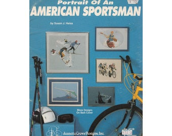 90s American Sportsman Book 118 Cross Stitch Patterns Portraits of Skiers, Hang Gliders, Sailing, Rock Climber, Cyclists and More