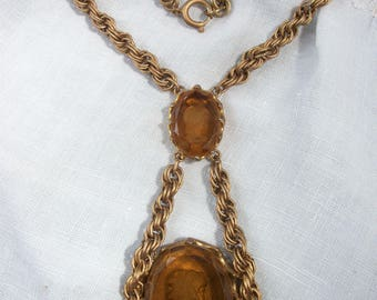 Drop Front Necklace ~ Double ~ Thick Glass Intaglio ~ Antiqued Gold tone Metal Chain ~ Romantic Feminine ~ Bohemian Chic