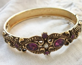Gold tone Hinged Bangle ~ Victorian Style ~ 1970's era ~ Purple Rhinestones Faux Pearl Accent ~ Vintage Boho / Gypsy Style ~ Antiqued Metal