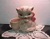 Ceramic Pink Cat or Kitty Planter Hull Art USA 61