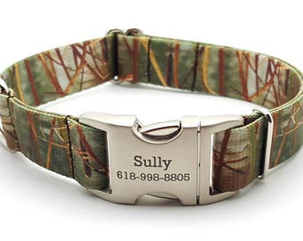 WATERFOWL CAMO GREEN Polyester Webbing Dog Collar with Laser Engraved Personalized Buckle