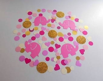 Pink Elephant Confetti, Girl Baby Shower Decor, Table Scatter, Safari Confetti, 1st Birthday Confetti Mix