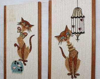 Pair of Vintage, Cat, Gravel Art, Assemblage Wall Hangings
