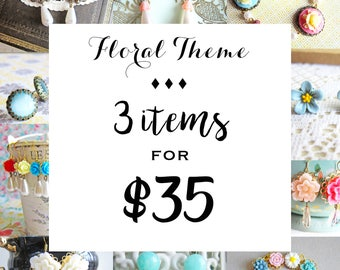 Floral Jewelry, Earrings, Necklace, Ring, Gift for Her, Bundle Deal 3 for 35, Mystery Grab Bag