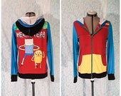 Adventure Time! Fin and Jake HECK YEA!! upcycled colorful tshirt zip up hoodie