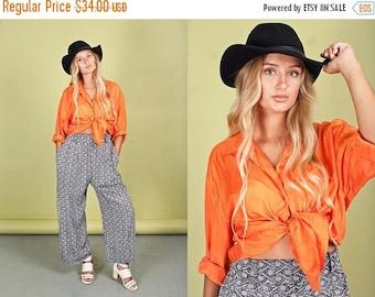 FLASH SALE 80s Orange Oversize Blouse Vintage Bright Silk Long Sleeve Top