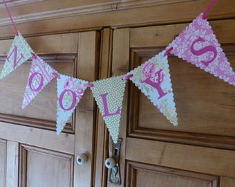 Custom Floral Bunting - Personalised Tea Party Banner - Craft Fair, Market Stall, Tea Room, Shop Name Bunting - Up to 10 Letters