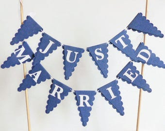 Navy Blue & White Just Married Wedding Cake Bunting Topper