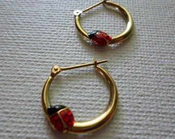 10k Gold Vintage Hoop Earrings with Black and Red Ladybugs