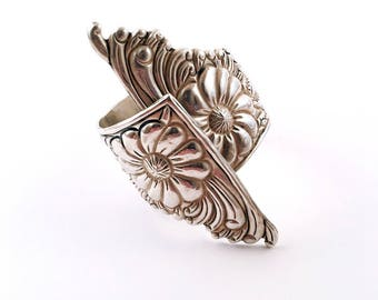 STUNNING Vintage STERLING Silver Floral Cuff Bracelet w/ Spring Clamp Closure
