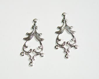 5 Filigree Leaves teardrop connector links shiny silver plated brass component 33.5x14.5mm K7902FD