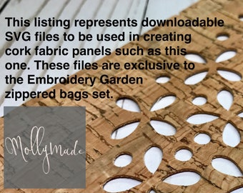 SVG files - 22 downloadable files for cutting cork fabric front panels for Embroidery Garden ITH Zippered Bags Set - MollyMade