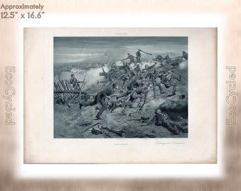 Taking the Ramparts by Gilbert Gaul Antique Photogravure Print battlefield Goupil Vintage Paper Ephemera ready to frame antique art zyxG3