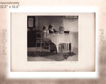 Don't Cry by Francis C Jones Antique Photogravure Print Goupil Vintage Paper Ephemera ready to frame antique art hand etched print zG36