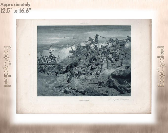 Taking the Ramparts by Gilbert Gaul Antique Photogravure Print battlefield Goupil Vintage Paper Ephemera ready to frame antique art zyxG3
