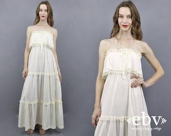 Boho Wedding Dress Strapless Wedding Dress Hippie Wedding Dress 70s Wedding Dress Hippy Wedding Dress Beach Wedding Dress Maxi Dress S M L