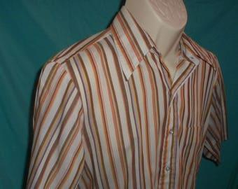 Vintage Men's Kent Collection BY ARROW 65% DECTON Polyester 35 Cotton Striped  Button Down Stripes
