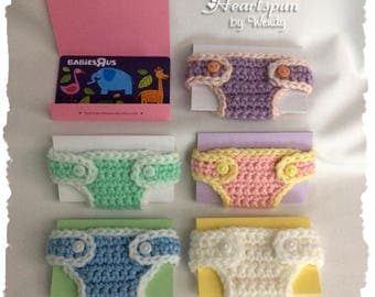 SET of 5 Mini Baby Diapers with card.  Gift card or money holder, note to expecting mom, baby shower favor, invitation, birth announcement
