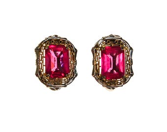 Pink Crystal, 18kt Gold, Sterling Silver Art Deco Era Earrings, Small, Petite, Clip On, Filigree