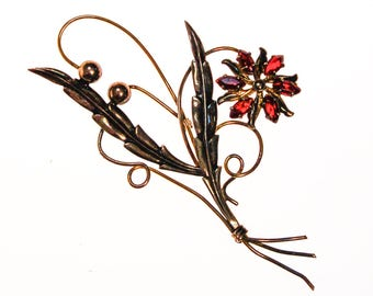 Gold Filled Flower Brooch with Red Rhinestones, 1940s Era