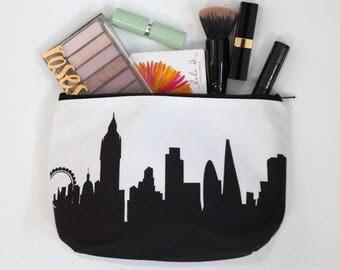 London England City Makeup Bag - Skyline Silhouette
