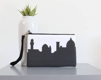 FLORENCE ITALY Skyline Wristlet Clutch. Skyline Wristlet. Skyline Clutch. Twill Clutch. Skyline Silhouette Purse. Gifts for Her. Travel Gift