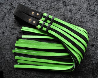 Set of 2, Heavy Finger Floggers in black and green leathers