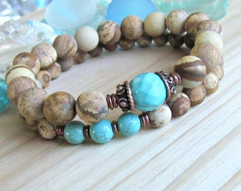 Turquoise bracelet set, Matte picture jasper, mala set, stackable bracelets, healing crystal, intention, blue, brown, yoga set, matte