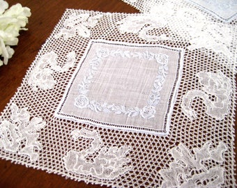12 Vintage Cocktail Napkins, Flanders Lace, White Organdy Linen, Hand Embroidered, PRISTINE