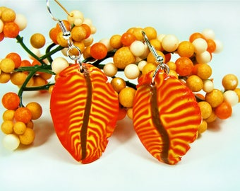 Red and Yellow Polymer Clay Leaf Earrings