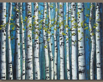 large birch tree painting, large abstract painting, birch trees, forest blue, aspen trees, tree painting, landscape painting, large wall art